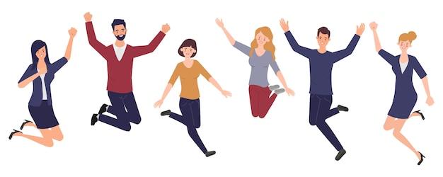 Szczęśliwi skaczący pracownicy biurowi. zestaw znaków kreskówek wesoły pracowników korporacyjnych.