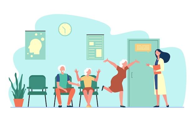 Szczęśliwi starsi ludzie powitanie lekarza. lekarz, babcia, ilustracja płaski szpital