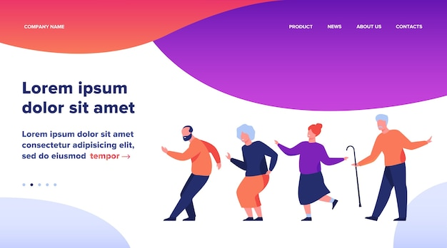 Szczęśliwi starsi ludzie tańczą na imprezie. kreskówka siwowłosy starców i kobiety korzystających z muzyki w klubie, zabawy. ilustracja wektorowa na wiek, hobby, radość, koncepcja emerytury