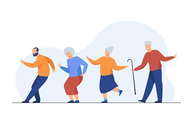 Szczęśliwi starsi ludzie tanczy przy przyjęciem
