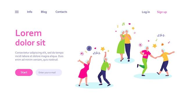 Szczęśliwi starzy ludzie tańczą na białym tle szablon sieci web. kreskówka starszych dziadków i babcie, zabawy na imprezie