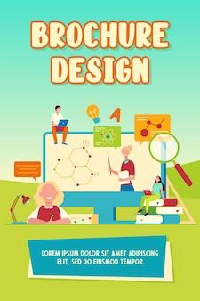 Szczęśliwi studenci lub uczniowie oglądający szablon broszury z plakatem na seminarium internetowe