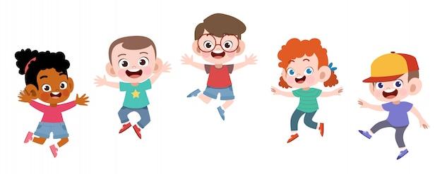 Szczęśliwi szkolni dzieciaki skaczą wektorową ilustrację odizolowywającą