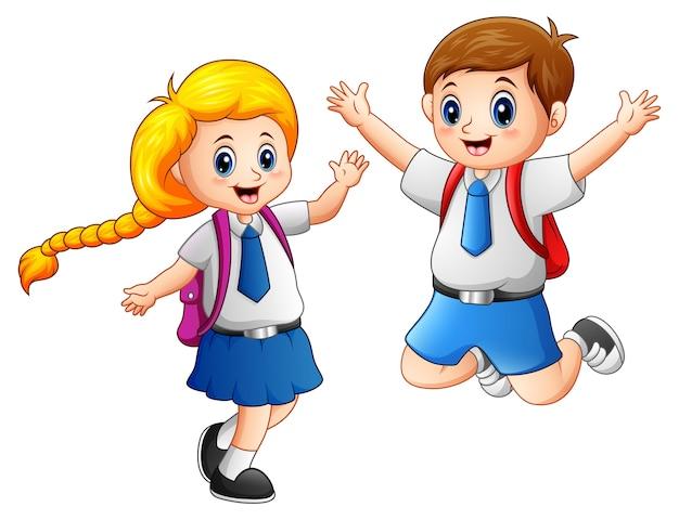Szczęśliwi szkolni dzieciaki w mundurku szkolnym