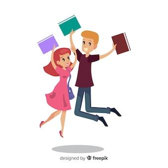 Szczęśliwi ucznie skacze i świętuje