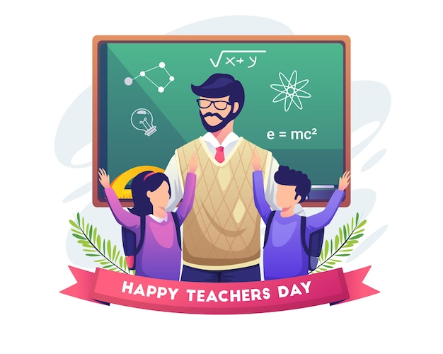 Szczęśliwi uczniowie gratulują nauczycielowi ilustracji dnia nauczyciela