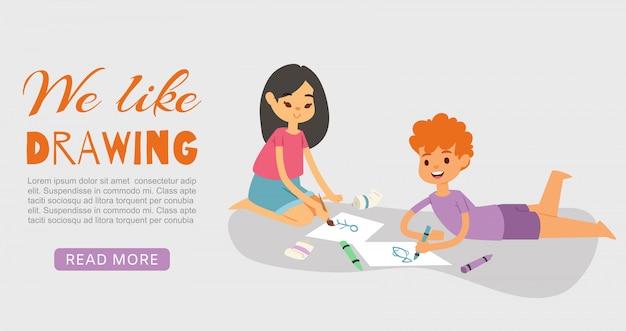 Szczęśliwi uśmiechnięci dzieciaki rysuje, maluje i barwi, z kredkami i szczotkarską ilustracją. chłopiec lying on the beach i dziewczyny obsiadanie na podłoga z rysunkiem. dzieci lubią rysować.