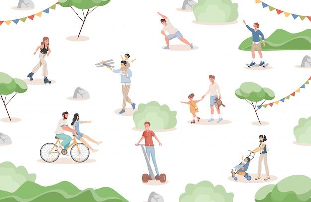 Szczęśliwi uśmiechnięci ludzie chodzą w parku miejskim płaska ilustracja wektorowa. mężczyźni, kobiety i dzieci spędzają razem czas.