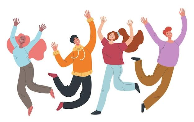 Szczęśliwi uśmiechnięci ludzie mężczyzna kobieta znaki skaczące na białym tle zestaw