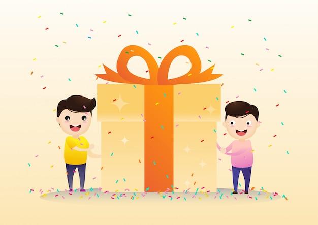 Szczęśliwi uśmiechnięci ludzie niosą duże pudełko na prezent.