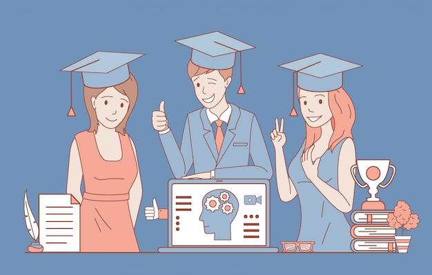 Szczęśliwi uśmiechnięci ludzie w formalne ubrania i kwadratowe akademickie czapki ilustracja kontur kreskówka.
