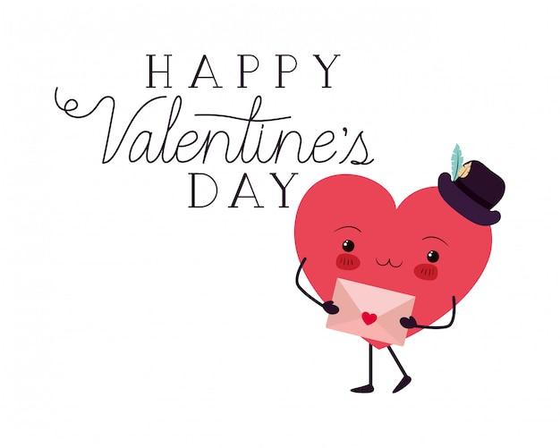 Szczęśliwi valentines dzień z kierowym miłości kawaii