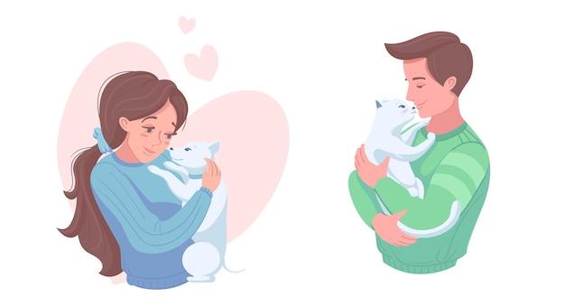 Szczęśliwi właściciele zwierząt domowych z szczeniaka i kotka, ilustracji wektorowych. dziewczyna i chłopak, pieszczoty psa, kota. opieka nad zwierzętami domowymi, miłość.