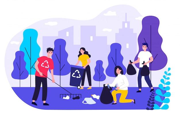 Szczęśliwi wolontariuszi zbiera śmieci w miasto parku
