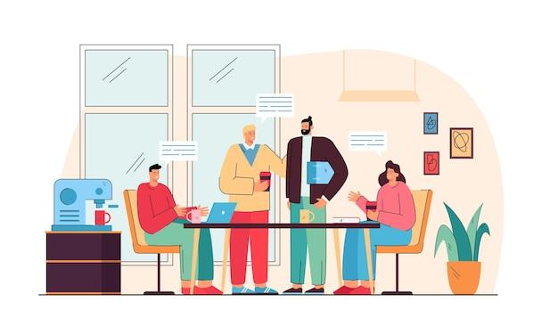 Szczęśliwi współpracownicy rozmawiają na lunch w kuchni biurowej na białym tle płaska ilustracja