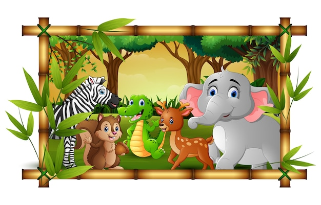 Szczęśliwi zwierzęta w bambus ramy lesie