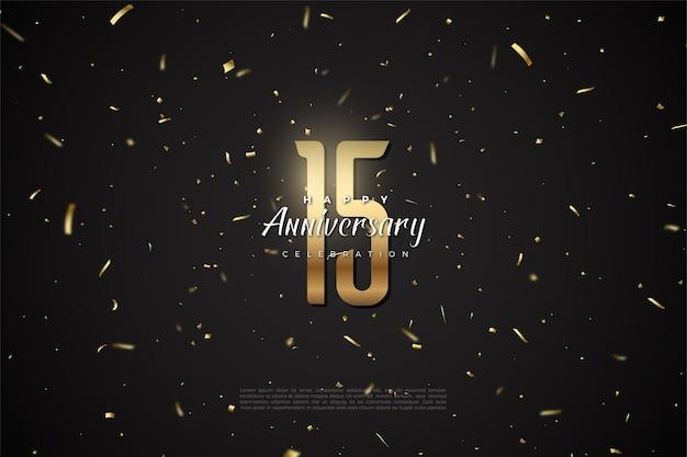 Szczęśliwy 15. rocznica tło z liczbami ilustracji powyżej przestrzeni kosmicznej.