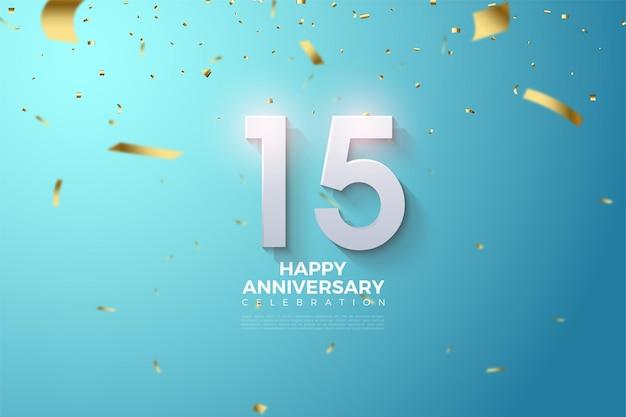 Szczęśliwy 15. rocznica tło z numerami i spada złoty papier.