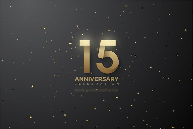 Szczęśliwy 15. rocznica tło z numerami obok gwiazd.