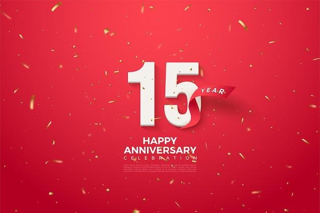 Szczęśliwy 15. rocznica tło z zakrzywionymi czerwonymi cyframi i wstążką.