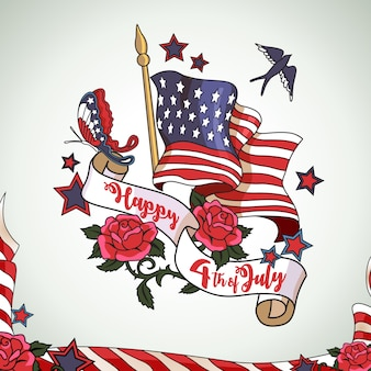 Szczęśliwy 4 lipca amerykański dzień niepodległości projekt tła