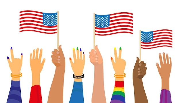 Szczęśliwy 4 lipca, ludzie trzymają amerykańską flagę. święto narodowe amerykańskiego dnia niepodległości. ilustracja wektorowa.