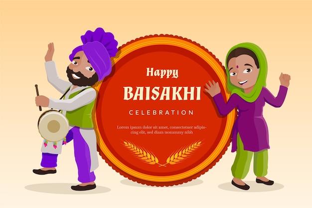 Szczęśliwy baisakhi z ludźmi świętującymi