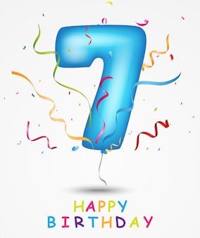 Szczęśliwy balon urodzinowy z numerem 7