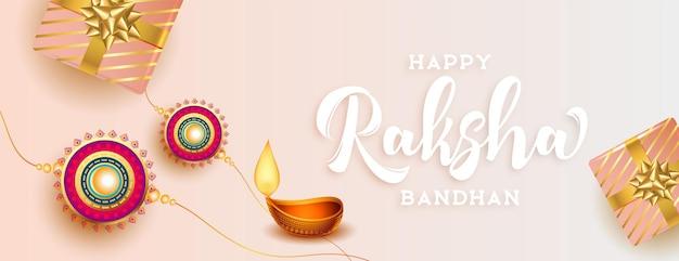 Szczęśliwy bandhan raksha piękny tradycyjny projekt banera