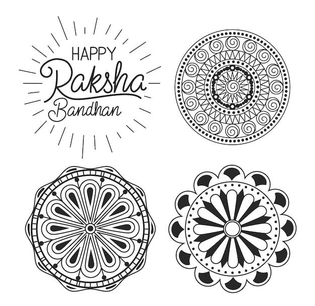 Szczęśliwy bandhan raksha z mandalami sylwetkowymi