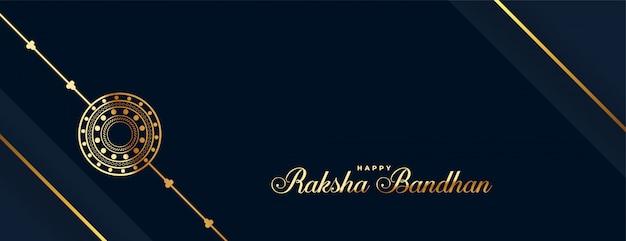 Szczęśliwy baner festiwalu raksha bandhan złoty rakhi