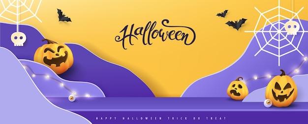 Szczęśliwy baner na halloween wyświetlacz produktu w pokoju stołowym studio z miejscem na kopię