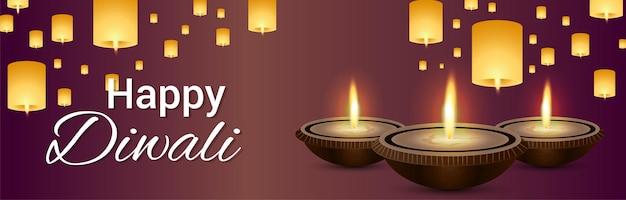Szczęśliwy baner obchodów festiwalu indyjskiego diwali lub nagłówek z diwali diya i lampą diwali