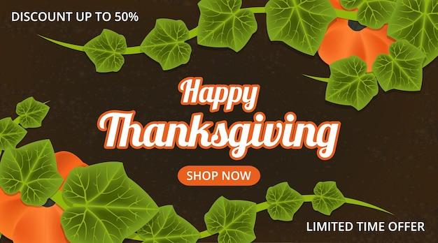 Szczęśliwy baner sprzedaży dziękczynienia z ilustracją dyni