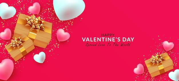 Szczęśliwy baner walentynkowy na kartkę z życzeniami, stronę internetową, plakaty, reklamy, materiały promocyjne