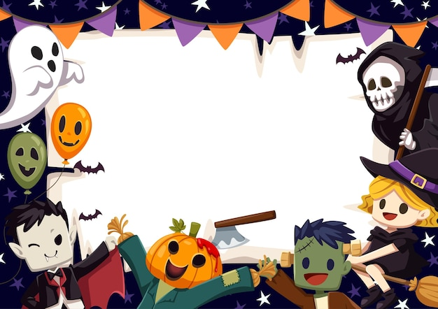 Szczęśliwy baner z ramką na halloween