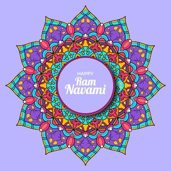 Szczęśliwy baran navami z mandali kolorowy na białym tle fioletowym tle