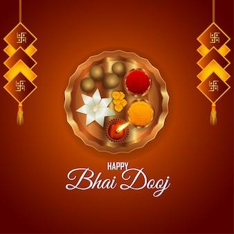 Szczęśliwy bhai dooj indyjski festiwal celebracja kartka z życzeniami