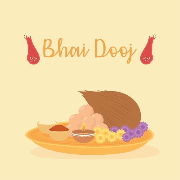 Szczęśliwy bhai dooj, jedzenie dla ilustracji festiwalu