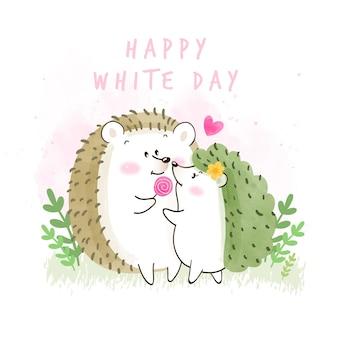 Szczęśliwy biały dzień ilustracja z jeżami
