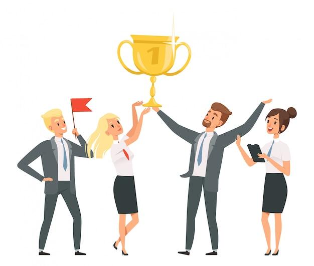 Szczęśliwy biznes zespół z ilustrartion złote trofeum