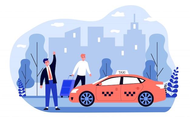 Szczęśliwy biznesmen biorąc taksówkę