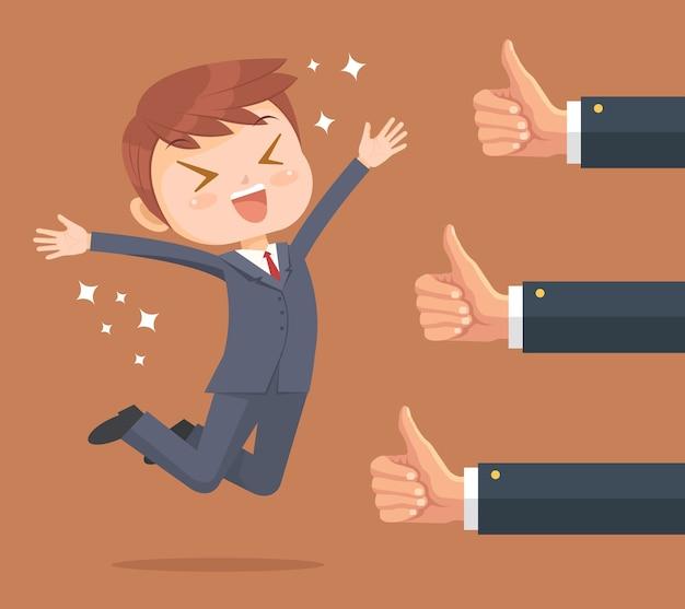 Szczęśliwy biznesmen charakter i wiele rąk z kciuki do góry.