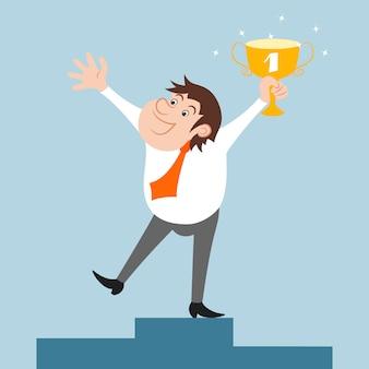 Szczęśliwy biznesmen charakter wygrał święto trofeum