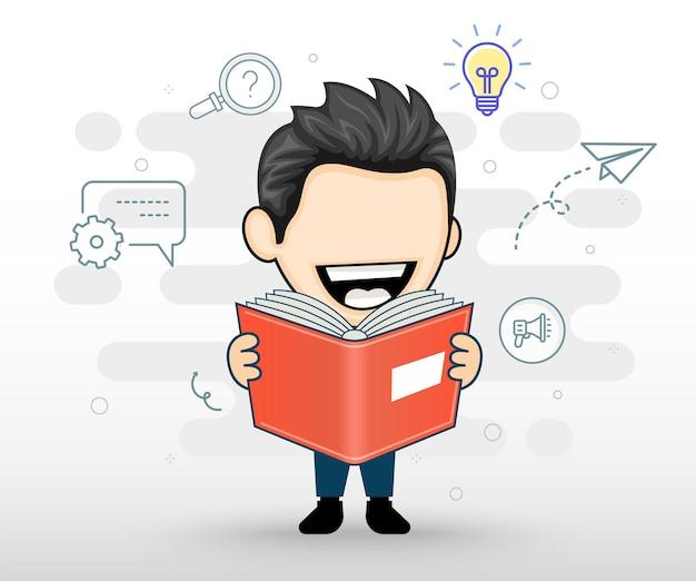 Szczęśliwy biznesmen lub student czytający książkę pojęcie biznesu lub edukacji w stylu kreskówki