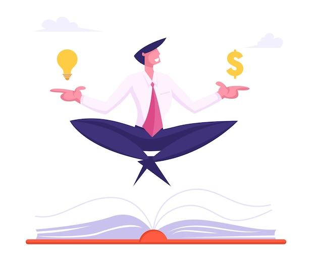 Szczęśliwy biznesmen medytacji ze znakiem dolara i świecącą żarówką