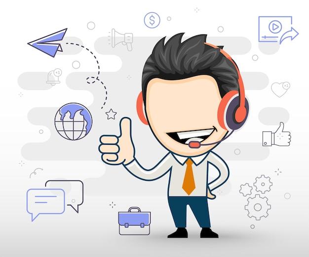 Szczęśliwy biznesmen nosi słuchawki i pokazuje koncepcję płaskiej konstrukcji ok gest w stylu kreskówki