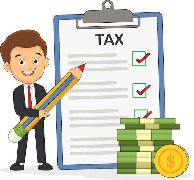 Szczęśliwy biznesmen płaci podatki w dniu podatkowym