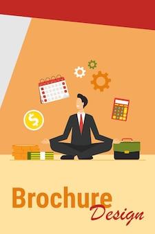 Szczęśliwy biznesmen robi joga w pracy. pracownik w garniturze siedzi w pozycji lotosu i trzymając ręce w geście zen. ilustracja wektorowa dla relaksu, odprężenia, ostrości, koncentracji, koncepcji równowagi