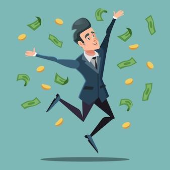 Szczęśliwy biznesmen skoki pod deszcz pieniędzy. sukces biznesowy.